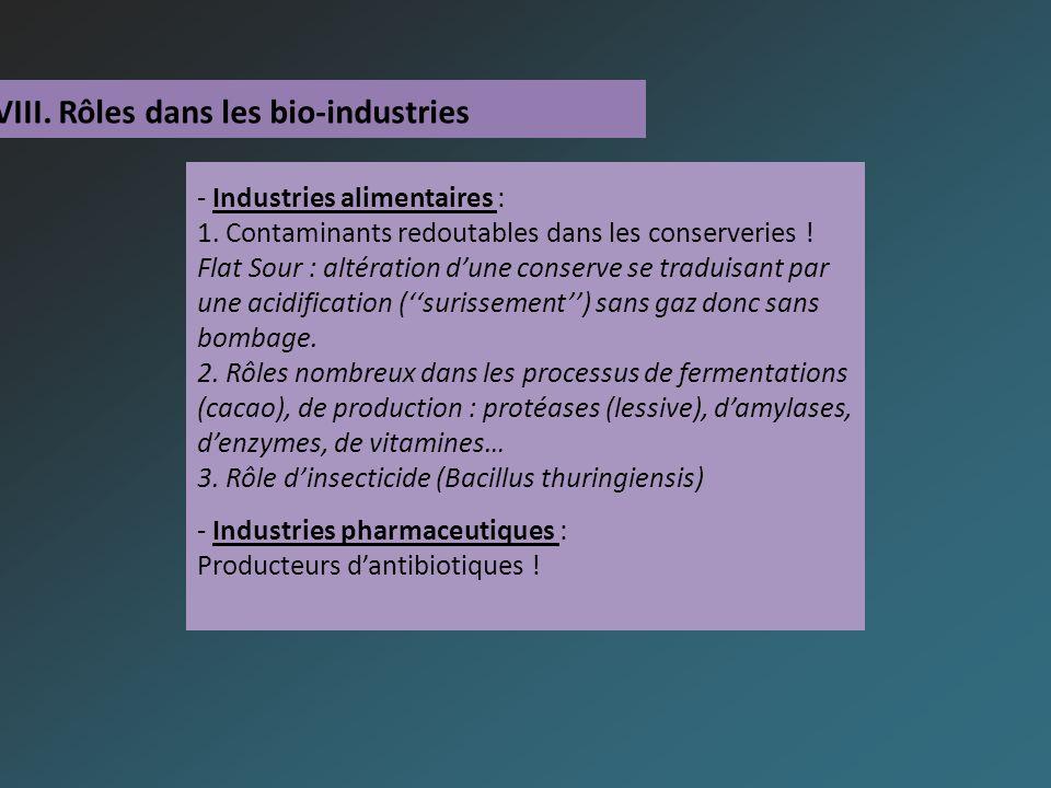 VIII. Rôles dans les bio-industries - Industries alimentaires : 1.