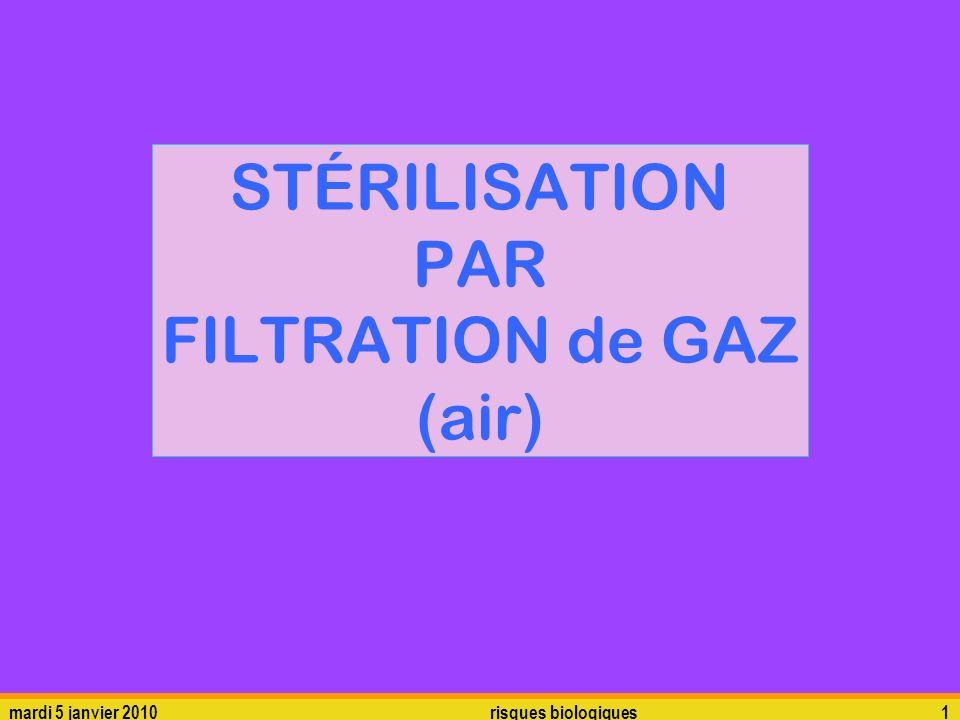 mardi 5 janvier 2010risques biologiques1 STÉRILISATION PAR FILTRATION de GAZ (air)
