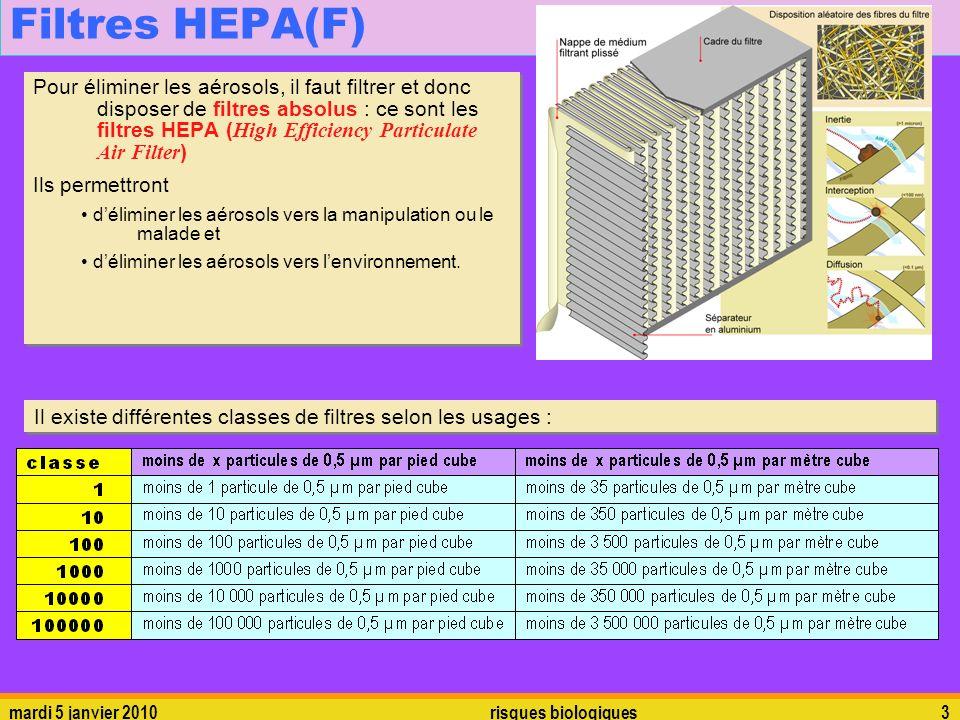 mardi 5 janvier 2010risques biologiques3 Filtres HEPA(F) Pour éliminer les aérosols, il faut filtrer et donc disposer de filtres absolus : ce sont les