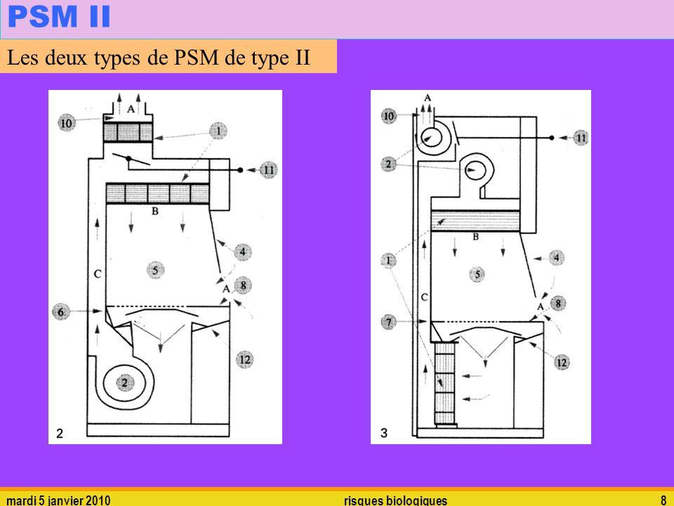 mardi 5 janvier 2010risques biologiques8 PSM II Les deux types de PSM de type II