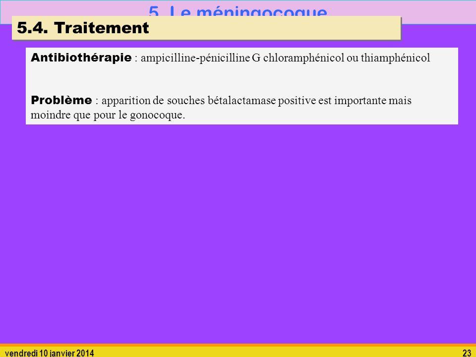 vendredi 10 janvier 201423 5. Le méningocoque 5.4. Traitement Antibiothérapie : ampicilline-pénicilline G chloramphénicol ou thiamphénicol Problème :
