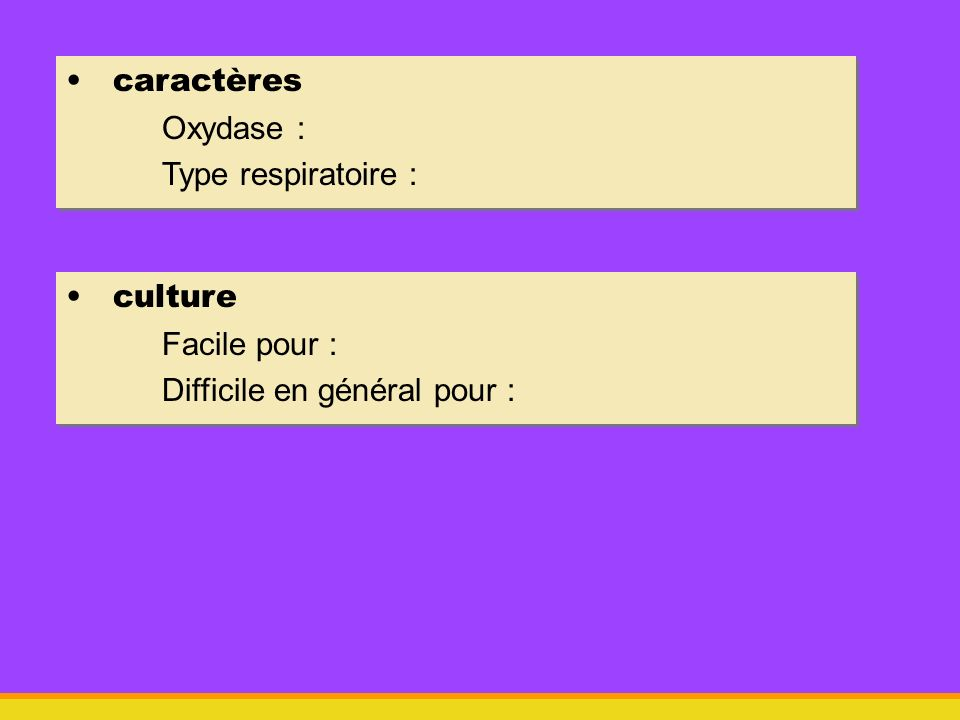 caractères Oxydase : Type respiratoire : caractères Oxydase : Type respiratoire : culture Facile pour : Difficile en général pour : culture Facile pou
