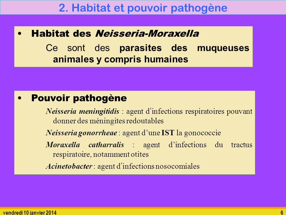 vendredi 10 janvier 20146 2. Habitat et pouvoir pathogène Habitat des Neisseria-Moraxella Ce sont des parasites des muqueuses animales y compris humai