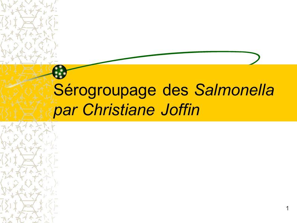 3- Les réactifs pour le sérogroupage des Salmonella 12 Voir dictionnaire p 296