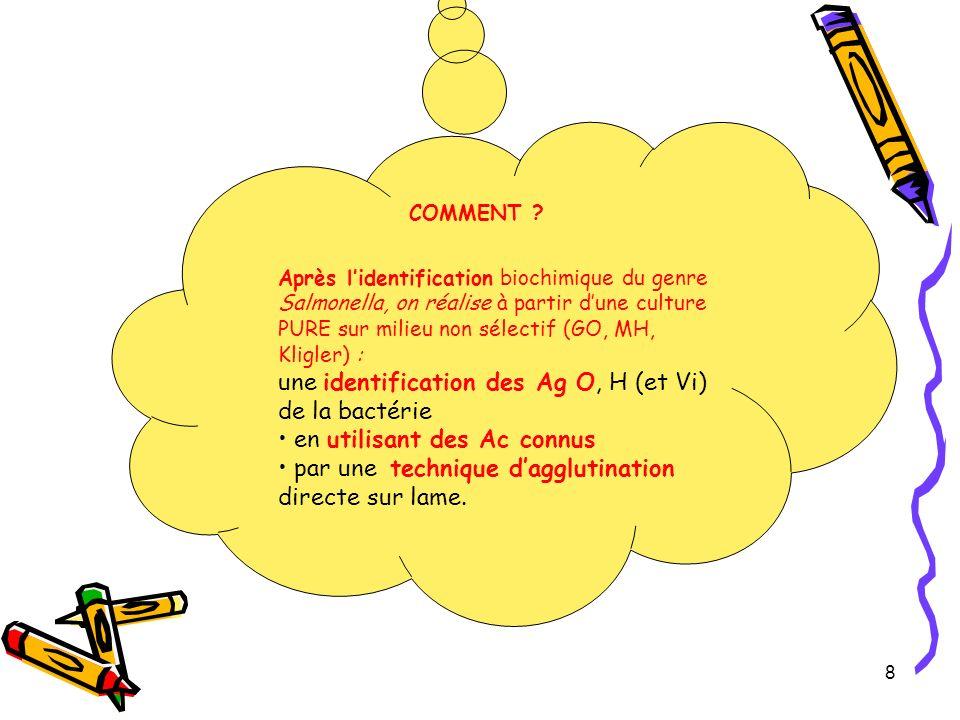 Procédure du sérogroupage Identifier : -dabord les Ag O de paroi, -puis les Ag H de flagelle -et éventuellement lAg Vi en utilisant des Ac connus spécifiques des Ag O (Ac anti O), des Ag H (Ac anti H) et de lAg Vi.