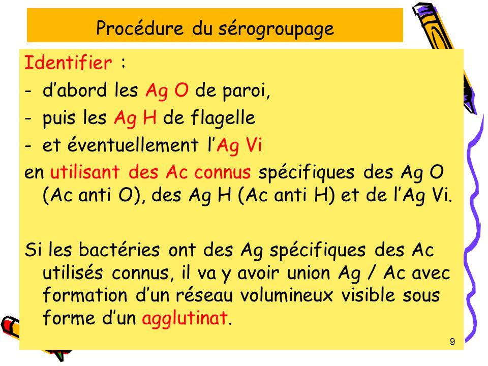 4-1- Les étapes du sérogroupage Premières étapes 1- Sassurer que la bactérie est bien une Salmonella 2- Vérifier que la souche nest pas auto-agglutinable (réalisation dun témoin de non auto-agglutinabilité en mettant les bactéries en présence deau physiologique) 20