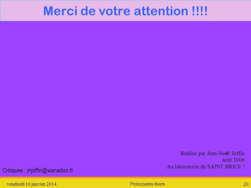 vendredi 10 janvier 2014Protozoaires divers20 Merci de votre attention !!!! Réalisé par Jean-No ël Joffin août 2006 Au laboratoire de SAINT BRICE ! Cr