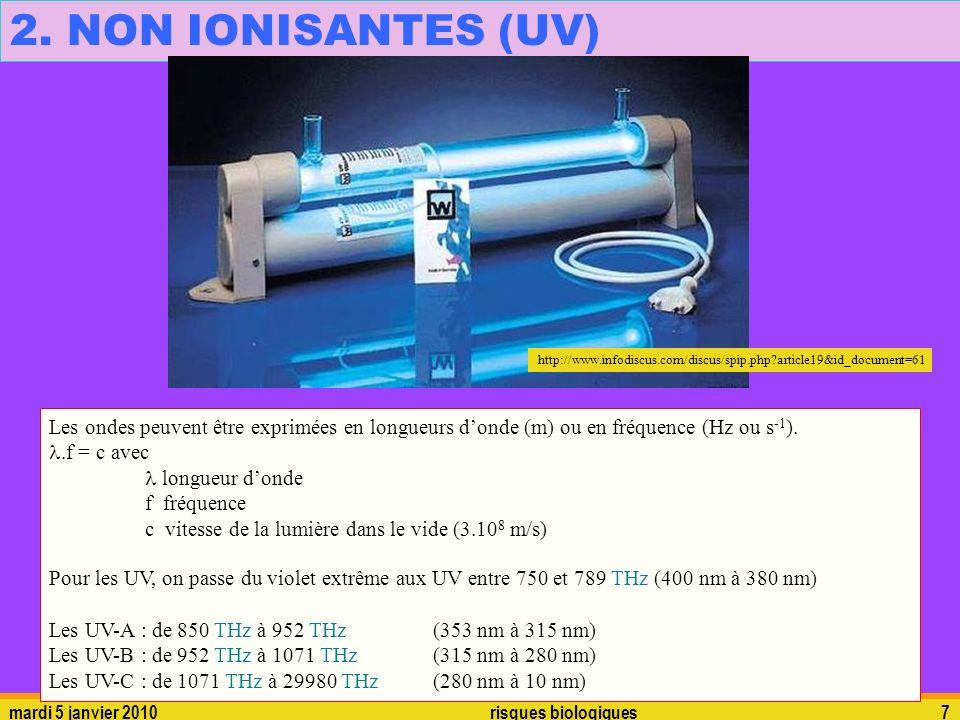 mardi 5 janvier 2010risques biologiques7 2. NON IONISANTES (UV) Les ondes peuvent être exprimées en longueurs donde (m) ou en fréquence (Hz ou s -1 ).