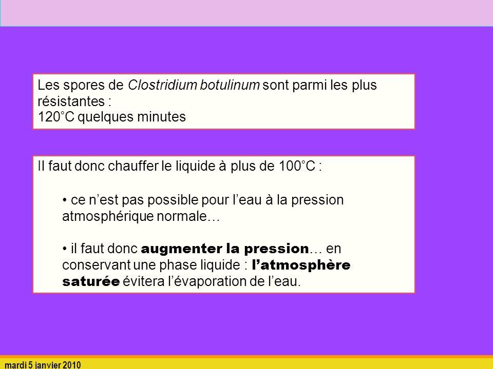 mardi 5 janvier 2010 Les spores de Clostridium botulinum sont parmi les plus résistantes : 120°C quelques minutes Il faut donc chauffer le liquide à p