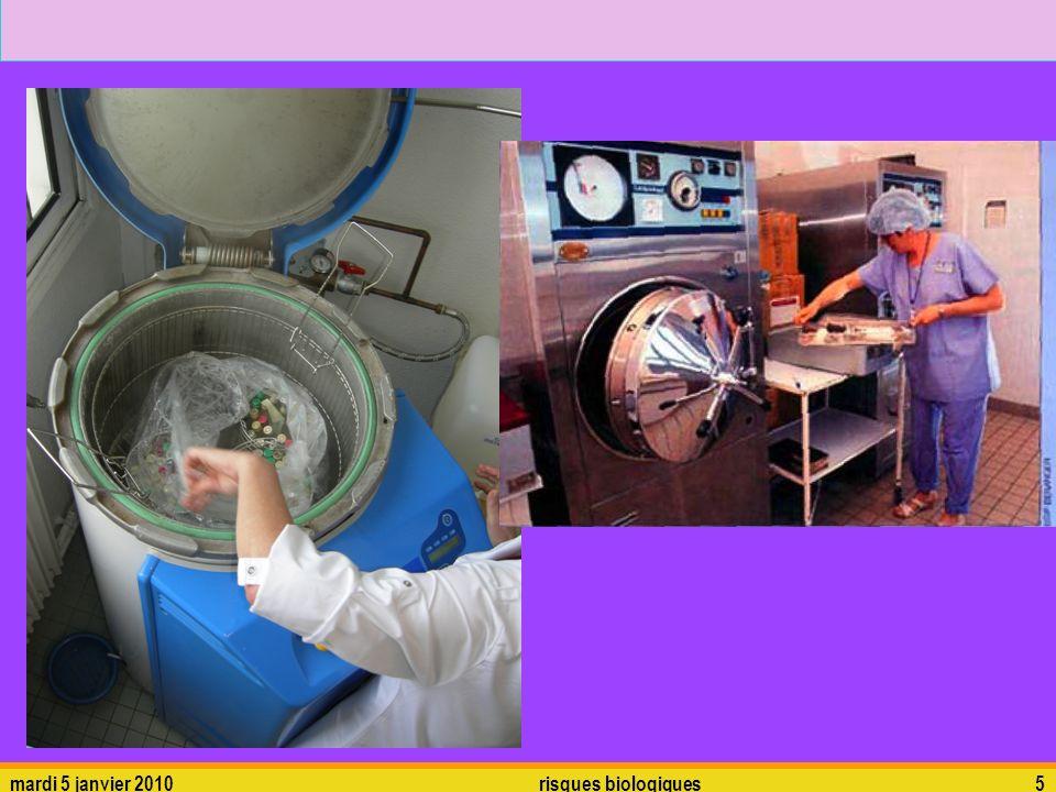 mardi 5 janvier 2010risques biologiques6 La chaleur humide utilise donc lAUTOCLAVE pour des barèmes pouvant être : 10 min à 134°C 15 min à 126°C 20 min à 121°C On ne peut pas stériliser de matériaux thermosensibles (polyéthylène…) mais les ……………………… peuvent lêtre car la pression de vapeur est saturante et il ne peut donc y avoir dévaporation.