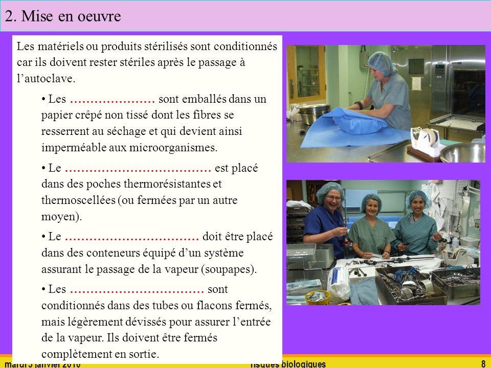 mardi 5 janvier 2010risques biologiques8 Les matériels ou produits stérilisés sont conditionnés car ils doivent rester stériles après le passage à lau