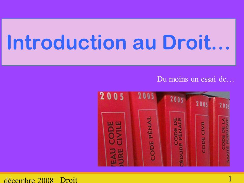 Droit décembre 2008 12 2.Qui produit le droit (en France) .
