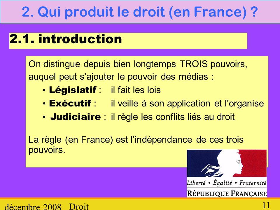 Droit décembre 2008 11 2. Qui produit le droit (en France) ? 2.1. introduction On distingue depuis bien longtemps TROIS pouvoirs, auquel peut sajouter