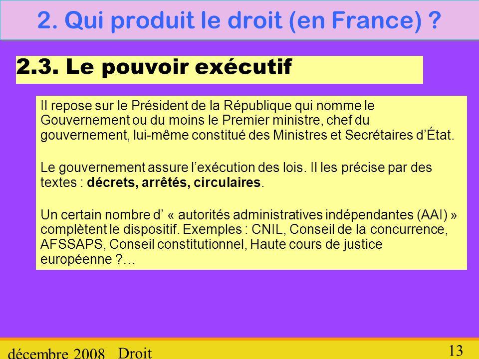 Droit décembre 2008 13 2. Qui produit le droit (en France) ? 2.3. Le pouvoir exécutif Il repose sur le Président de la République qui nomme le Gouvern