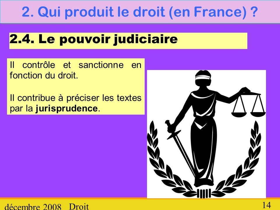 Droit décembre 2008 14 2. Qui produit le droit (en France) ? 2.4. Le pouvoir judiciaire Il contrôle et sanctionne en fonction du droit. Il contribue à