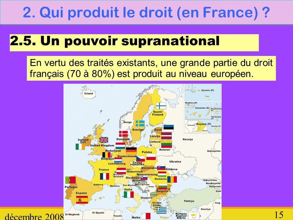 Droit décembre 2008 15 2. Qui produit le droit (en France) ? 2.5. Un pouvoir supranational En vertu des traités existants, une grande partie du droit