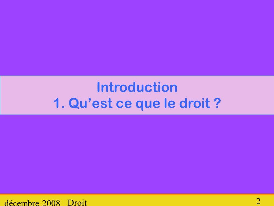 Droit décembre 2008 2 Introduction 1. Quest ce que le droit ?
