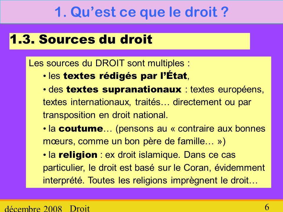 Droit décembre 2008 6 1. Quest ce que le droit ? 1.3. Sources du droit Les sources du DROIT sont multiples : les textes rédigés par lÉtat, des textes