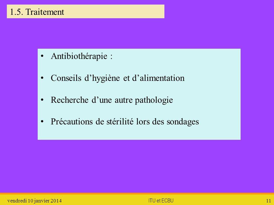 vendredi 10 janvier 2014 ITU et ECBU 11 1.5. Traitement Antibiothérapie : Conseils dhygiène et dalimentation Recherche dune autre pathologie Précautio