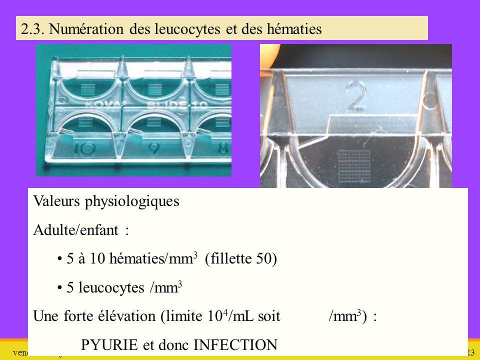 vendredi 10 janvier 2014 ITU et ECBU 23 2.3. Numération des leucocytes et des hématies Valeurs physiologiques Adulte/enfant : 5 à 10 hématies/mm 3 (fi