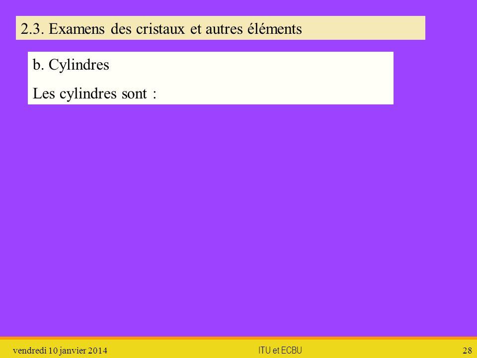 vendredi 10 janvier 2014 ITU et ECBU 28 2.3. Examens des cristaux et autres éléments b. Cylindres Les cylindres sont :
