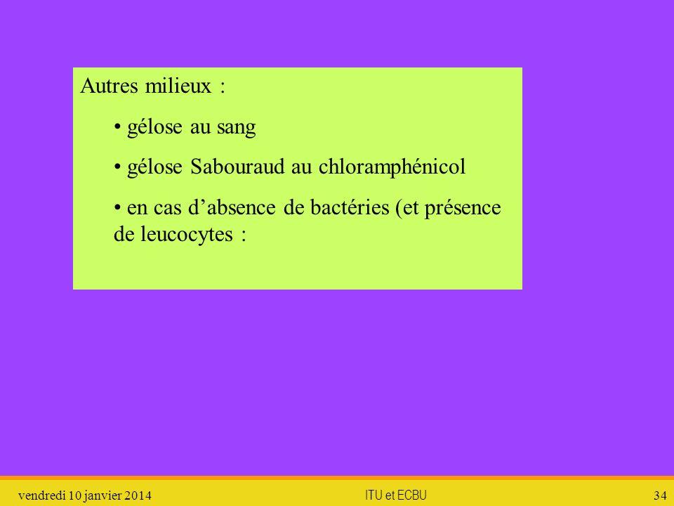 vendredi 10 janvier 2014 ITU et ECBU 34 Autres milieux : gélose au sang gélose Sabouraud au chloramphénicol en cas dabsence de bactéries (et présence