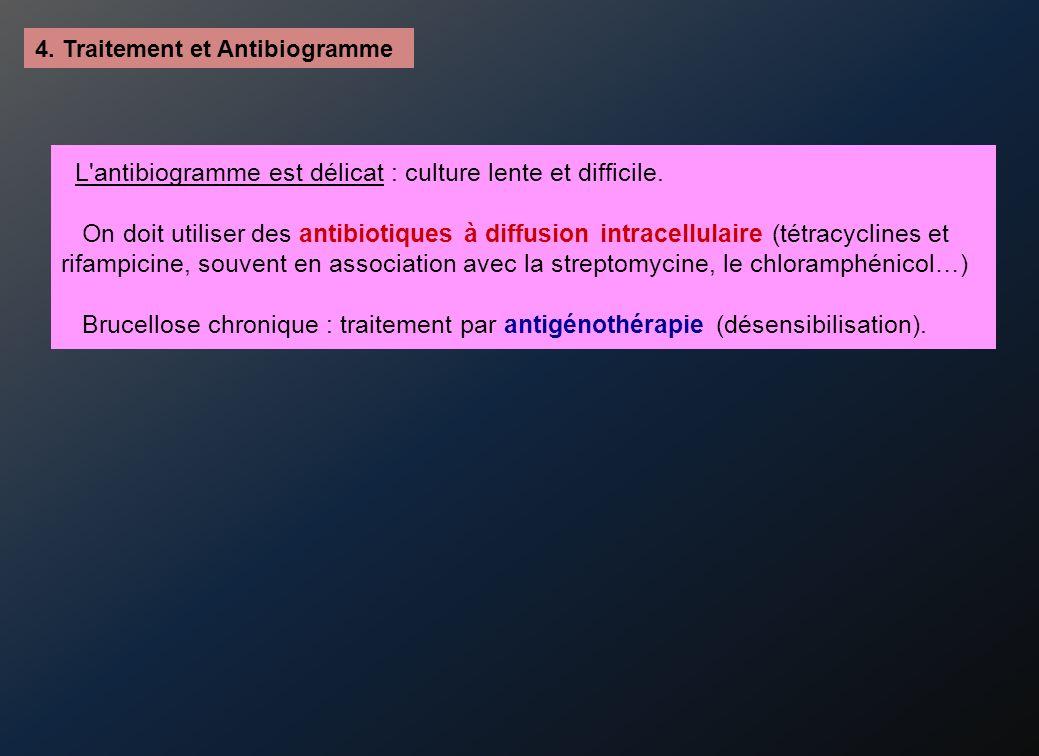 4.Traitement et Antibiogramme L antibiogramme est délicat : culture lente et difficile.