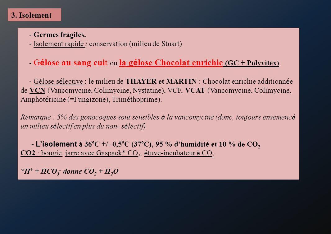 3. Isolement - Germes fragiles. - Isolement rapide / conservation (milieu de Stuart) - G é lose au sang cuit ou la g é lose Chocolat enrichie (GC + Po