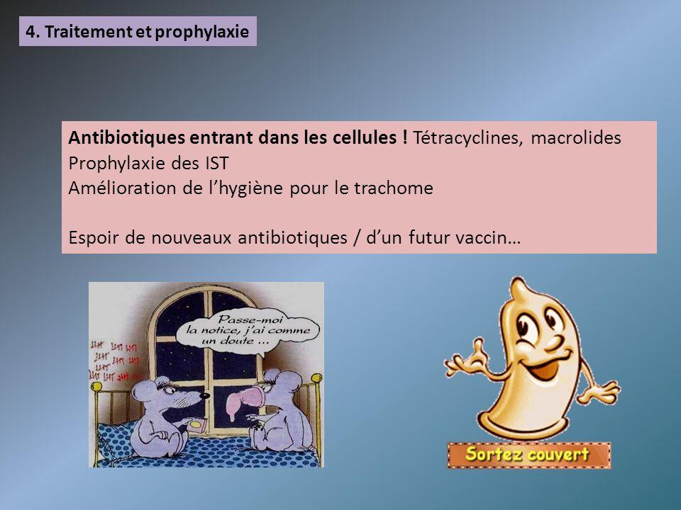 4. Traitement et prophylaxie Antibiotiques entrant dans les cellules ! Tétracyclines, macrolides Prophylaxie des IST Amélioration de lhygiène pour le
