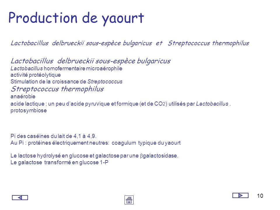 10 Production de yaourt Lactobacillus delbrueckii sous-espèce bulgaricus et Streptococcus thermophilus Pi des caséines du lait de 4,1 à 4,9. Au Pi : p