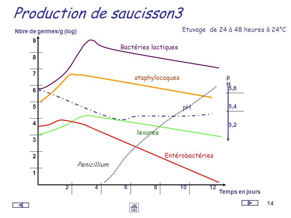 14 Production de saucisson3 24681012 9 8 7 6 5 4 3 2 1 Etuvage de 24 à 48 heures à 24°C Temps en jours Nbre de germes/g (log) pHpH 5,6 5,4 5,2 levures