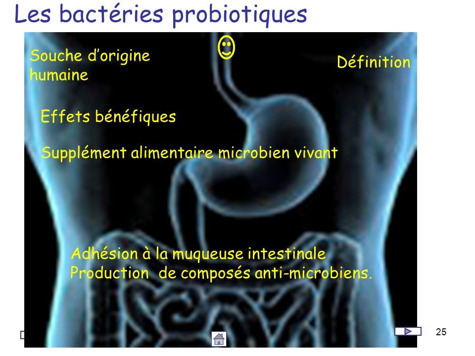 25 Les bactéries probiotiques Définition Souche dorigine humaine Supplément alimentaire microbien vivant Adhésion à la muqueuse intestinale Production