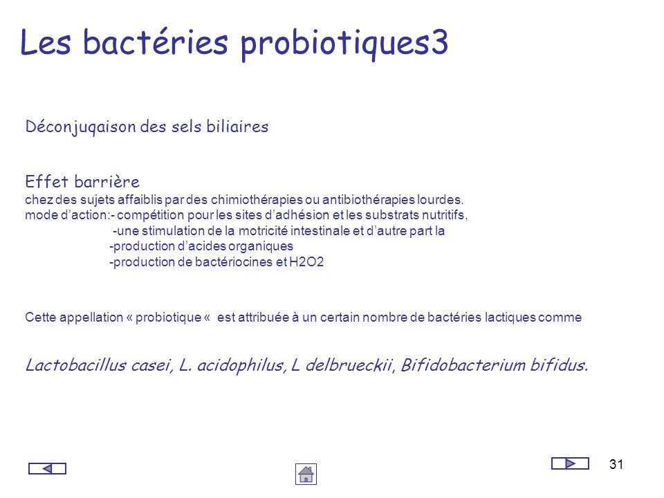 31 Les bactéries probiotiques3 Déconjuqaison des sels biliaires Effet barrière chez des sujets affaiblis par des chimiothérapies ou antibiothérapies l