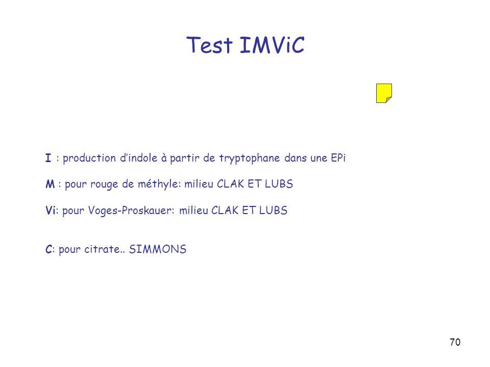 70 Test IMViC I : production dindole à partir de tryptophane dans une EPi M : pour rouge de méthyle: milieu CLAK ET LUBS Vi: pour Voges-Proskauer: mil