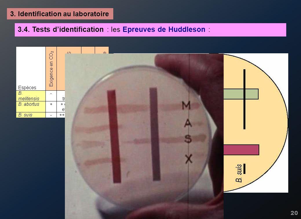 20 3. Identification au laboratoire 3.4. Tests didentification : les Epreuves de Huddleson :