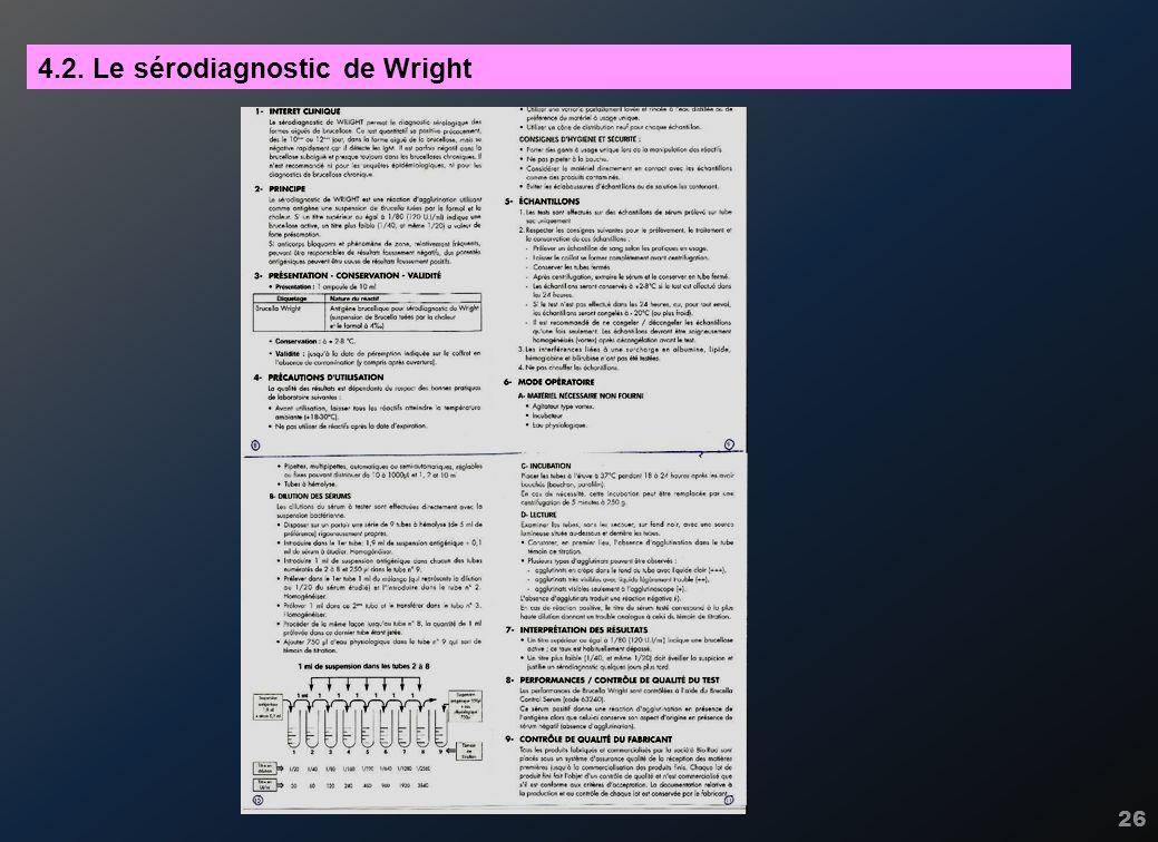 26 4.2. Le sérodiagnostic de Wright