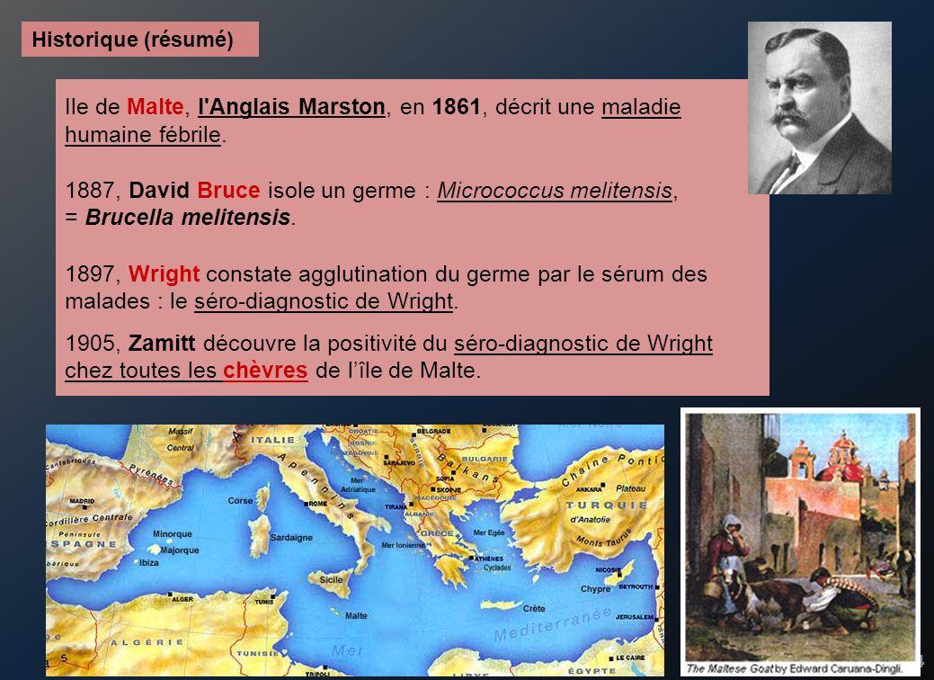 4 Ile de Malte, l'Anglais Marston, en 1861, décrit une maladie humaine fébrile. 1887, David Bruce isole un germe : Micrococcus melitensis, = Brucella