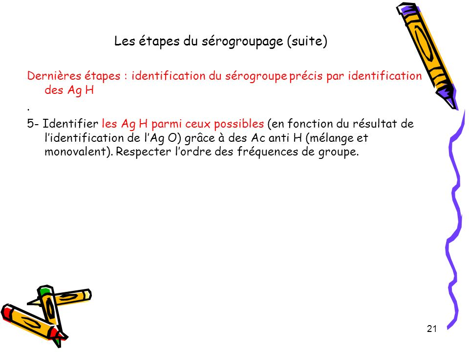 Les étapes du sérogroupage (suite) Dernières étapes : identification du sérogroupe précis par identification des Ag H. 5- Identifier les Ag H parmi ce