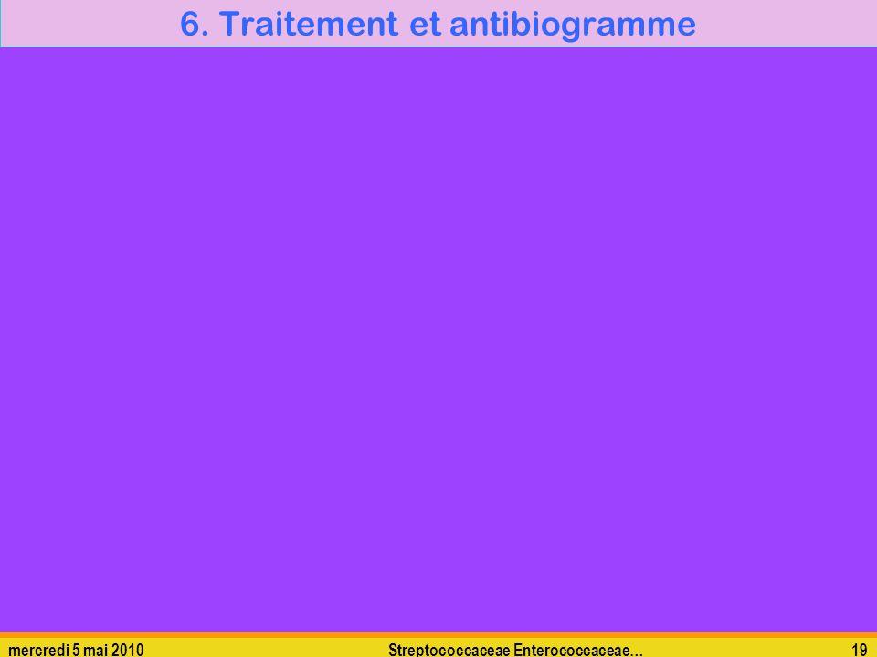mercredi 5 mai 2010Streptococcaceae Enterococcaceae…19 6. Traitement et antibiogramme