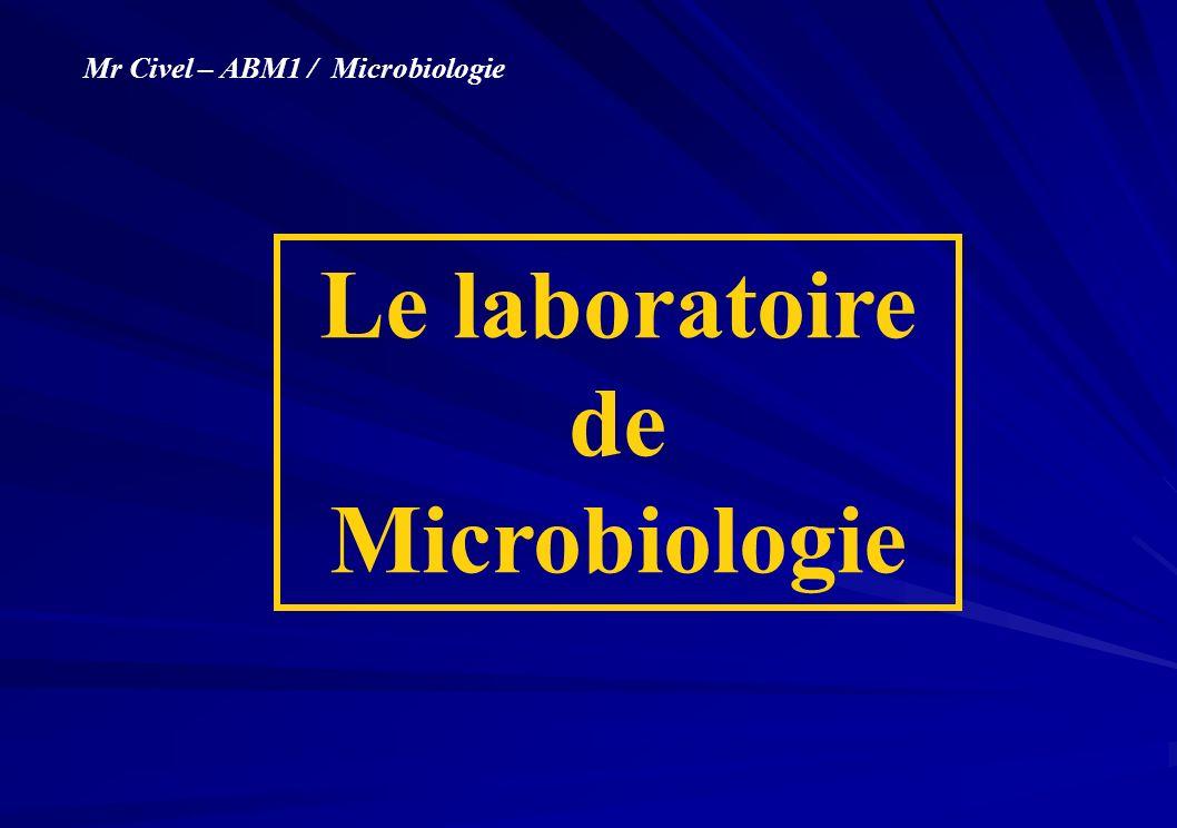- Le matériel de laboratoire - Lorganisation du poste microbiologique - La manipulation aseptique (entrée du laboratoire, en cours de manipulation, sortie du laboratoire)