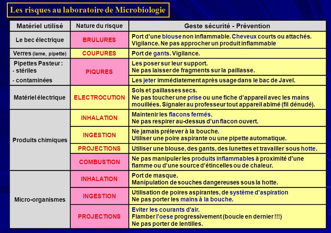 Les risques au laboratoire de Microbiologie Matériel utilisé Nature du risque Geste sécurité - Prévention Le bec électriqueBRULURES Port d'une blouse