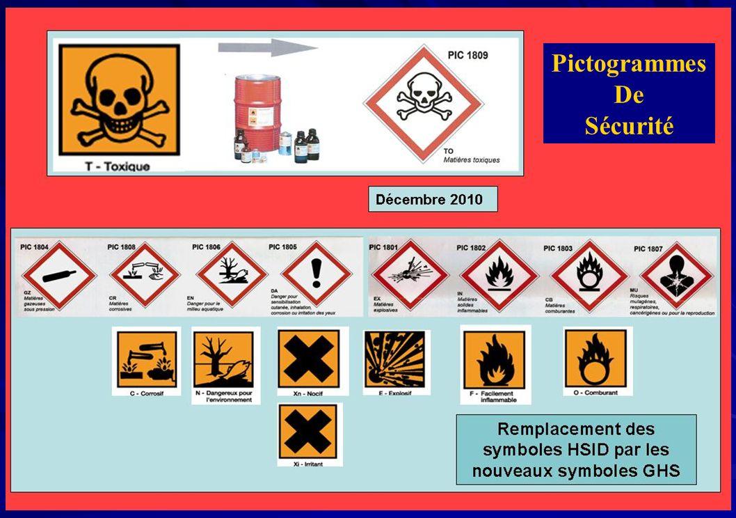 Exemple de phrases de risque : R1 Explosif à l état sec.