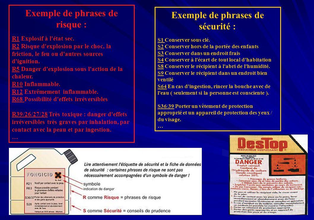 Exemple de phrases de risque : R1 Explosif à l'état sec. R2 Risque d'explosion par le choc, la friction, le feu ou d'autres sources d'ignition. R5 Dan