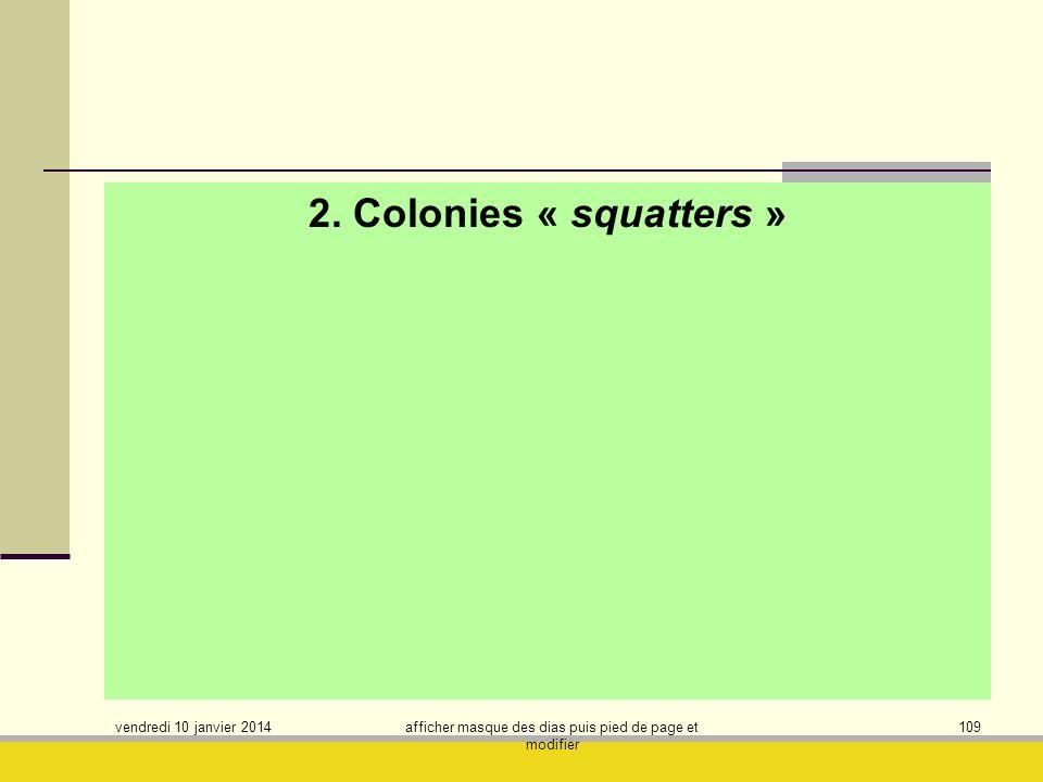 vendredi 10 janvier 2014 afficher masque des dias puis pied de page et modifier 109 2. Colonies « squatters »