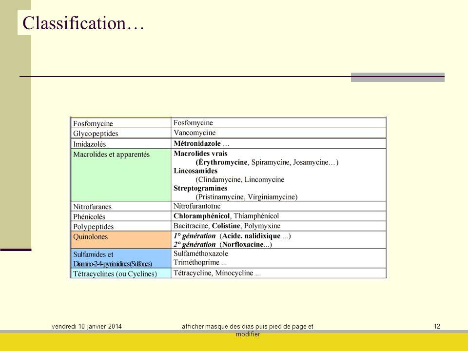 vendredi 10 janvier 2014 afficher masque des dias puis pied de page et modifier 12 Classification…