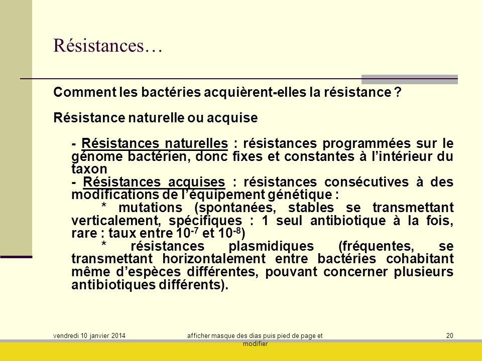 vendredi 10 janvier 2014 afficher masque des dias puis pied de page et modifier 20 Résistances… Comment les bactéries acquièrent-elles la résistance ?