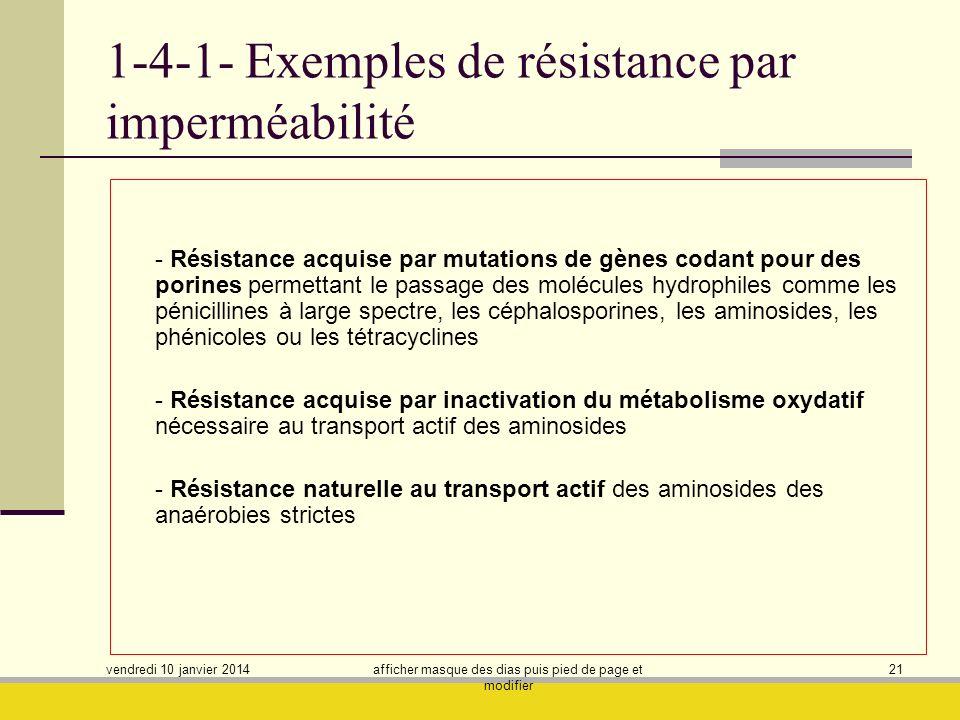 vendredi 10 janvier 2014 afficher masque des dias puis pied de page et modifier 21 1-4-1- Exemples de résistance par imperméabilité - Résistance acqui