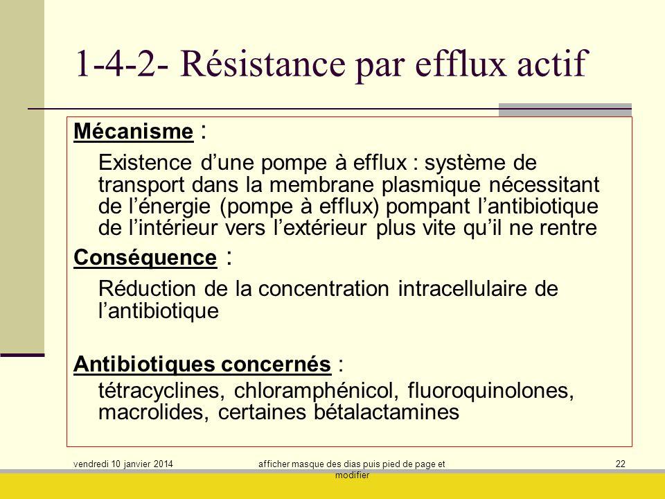 vendredi 10 janvier 2014 afficher masque des dias puis pied de page et modifier 22 1-4-2- Résistance par efflux actif Mécanisme : Existence dune pompe