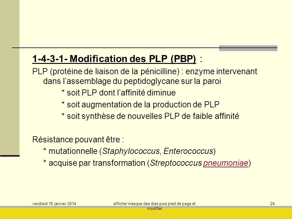 vendredi 10 janvier 2014 afficher masque des dias puis pied de page et modifier 24 1-4-3-1- Modification des PLP (PBP) : PLP (protéine de liaison de l