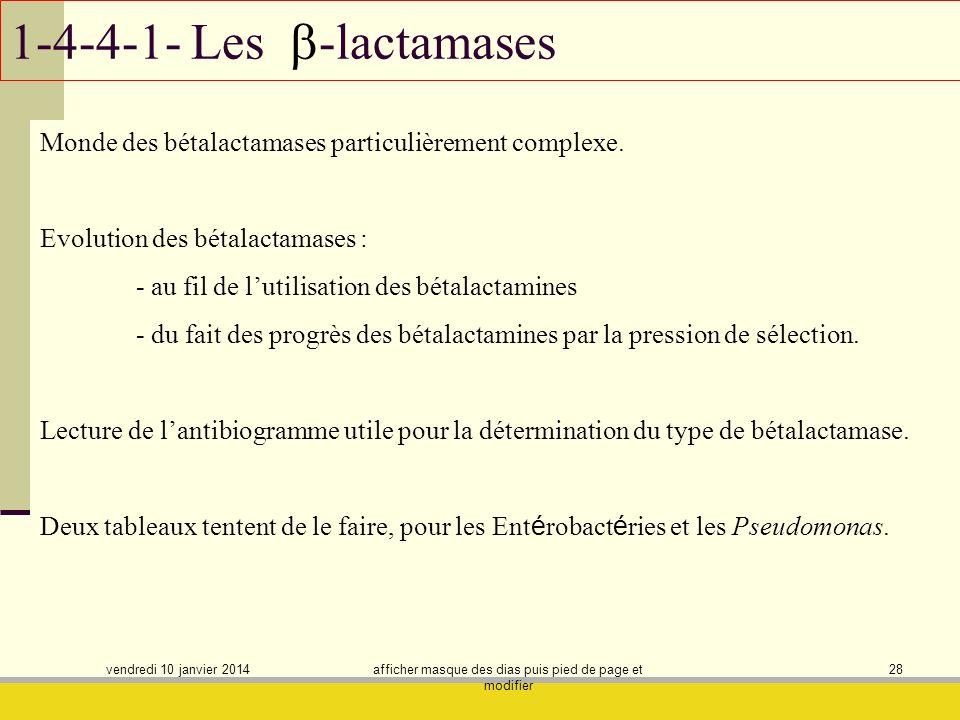vendredi 10 janvier 2014 afficher masque des dias puis pied de page et modifier 28 1-4-4-1- Les -lactamases Monde des bétalactamases particulièrement